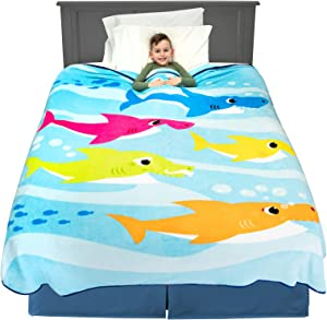 "Franco Kids Bedding Super Soft Plush Blanket, Twin/Full Size 62"" x 90"", Baby Shark"