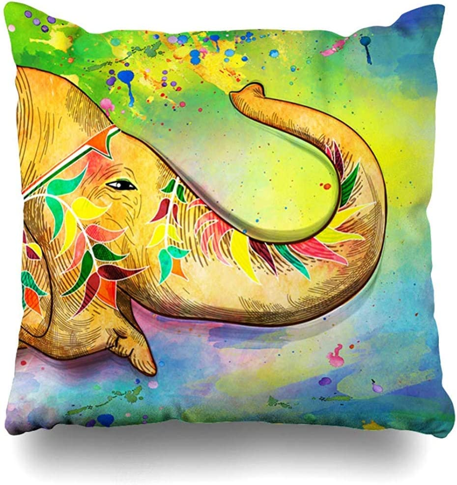 Throw Pillow Cover Square Case 18x18 Inch Asian Watercolor Elephant Indian Festival Holi Hindu Bengali New Holidays Blue India Celebration Cushion Home Decor Pillowcase