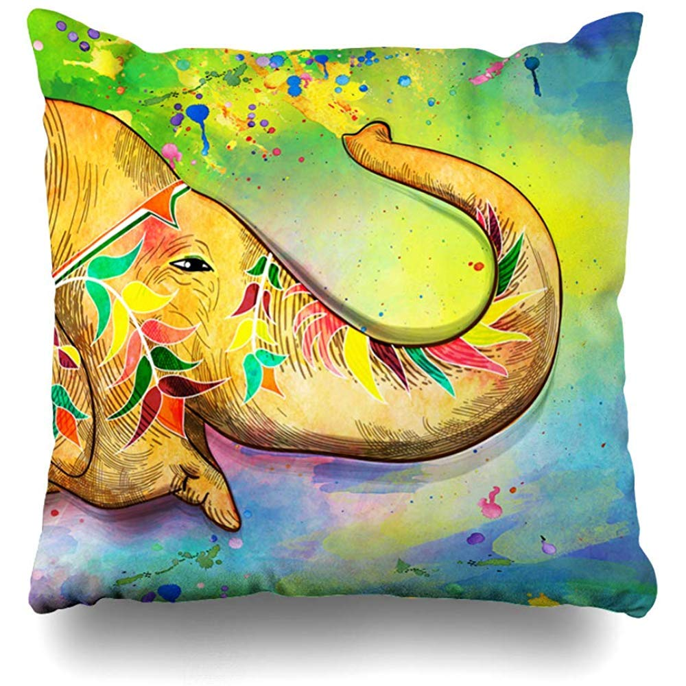 Throw Pillow Cover Celebration Watercolor Indian Festival Holi Bengali Human New Year Holidays Blue India Home Decor Cushion Case Square Size 18 x 18 Inches Zippered Cases