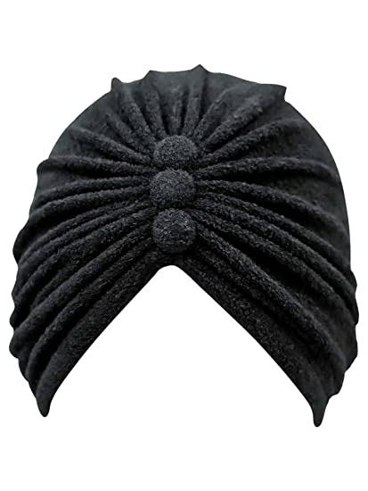 Black Terry Cloth Turban Head Wrap With Button Detail