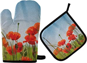 DOMIKING Pot Holders Oven Mitts Sets - Red Poppy Flowers Hot Gloves Heat Resistant Hot Pads Non-Slip Potholders for Kitchen Grilling Cooking Baking