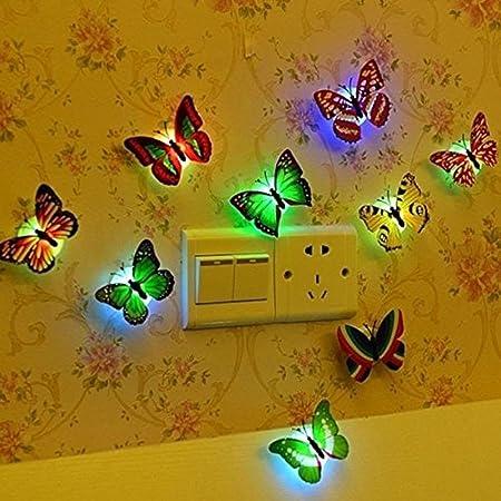 Hosaire 5Pcs Colores cambiante LED Parpadea Mariposa Noche luz ...
