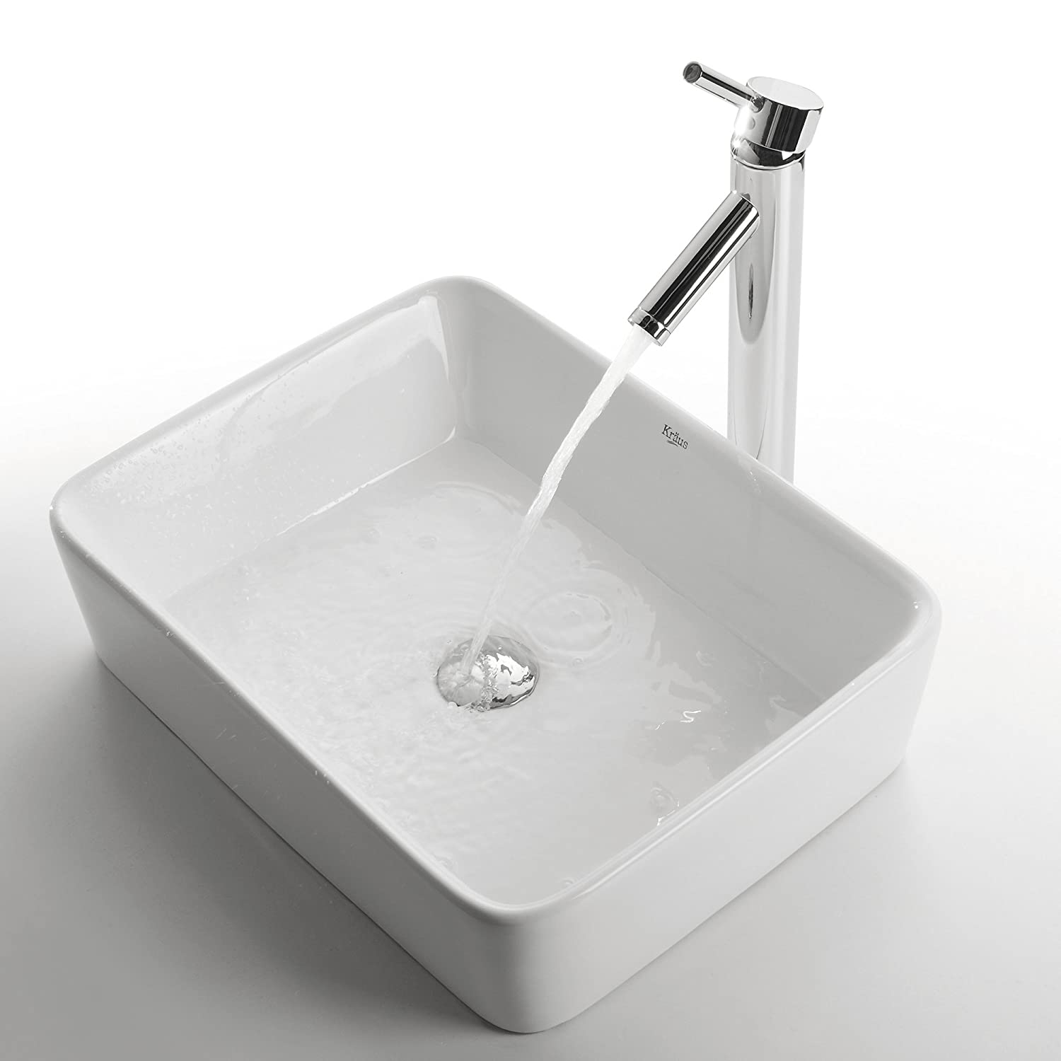Kraus KCV 121 CH White Rectangular Ceramic Bathroom Sink With Pop Up Drain  Chrome   Bathroom Sink And Tub Drain Strainers   Amazon.com