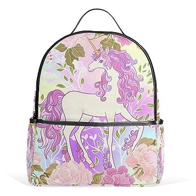 23dd3ef4c1 JSTEL Unicorn Mane Butterfly Rainbow Heart School Backpack 4th 5th 6th Grade  for Boys Teen Girls