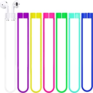 Deexeen Compatible with Anti-Lost Straps Accessory AirPods 1 2 Pro - 7 PCS Colorful Assorted Strings, Soft Sport Tether Lanyard, Running Silicone Wire Cable Connector, Silica Gel Neck Rope Cord