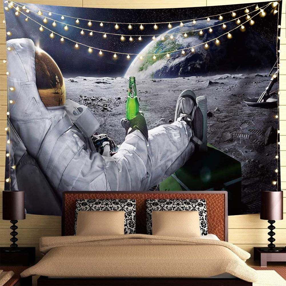 "Trippy Astronaut Tapestry Galaxy Space Wall Hanging Tapestry Cool Spaceman with Beer Sitting on Universe Outer Space Planet Tapestry Funny Tapestry Bohemian Hippie Tapestry For Mens Bedroom Cool Room Decor (78""L*59""W)"