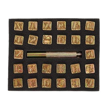 HOMEJIA con impresi/ón de letras may/úsculas y un poste Juego de 26 piezas de sellos de letras del alfabeto de acero para manualidades de metal y cuero