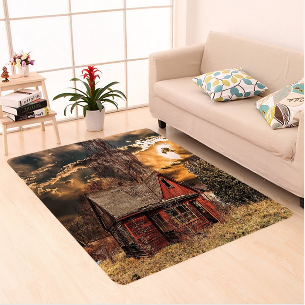 Nalahome Custom carpet ery Decor Scary Horror Movie Themed Abandoned House in Pale Grass Garden Sunset Photo Multicolor area rugs for Living Dining Room Bedroom Hallway Office Carpet (5' X 7')