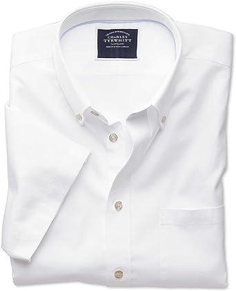 Camisa Oxford Blanca de Tela Lavada Slim fit de Manga Corta con Cuello con Botones: Amazon.es: Ropa y accesorios