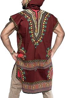 T-Shirt Manica Corta da Uomo con Scollo A V Stile Estivo Moda Allentata Stampa Stile Etnico Magliette Casual Felpa con Cappuccio Tradizionale Africana Plus Size Multi Colors B180527MT1-Y
