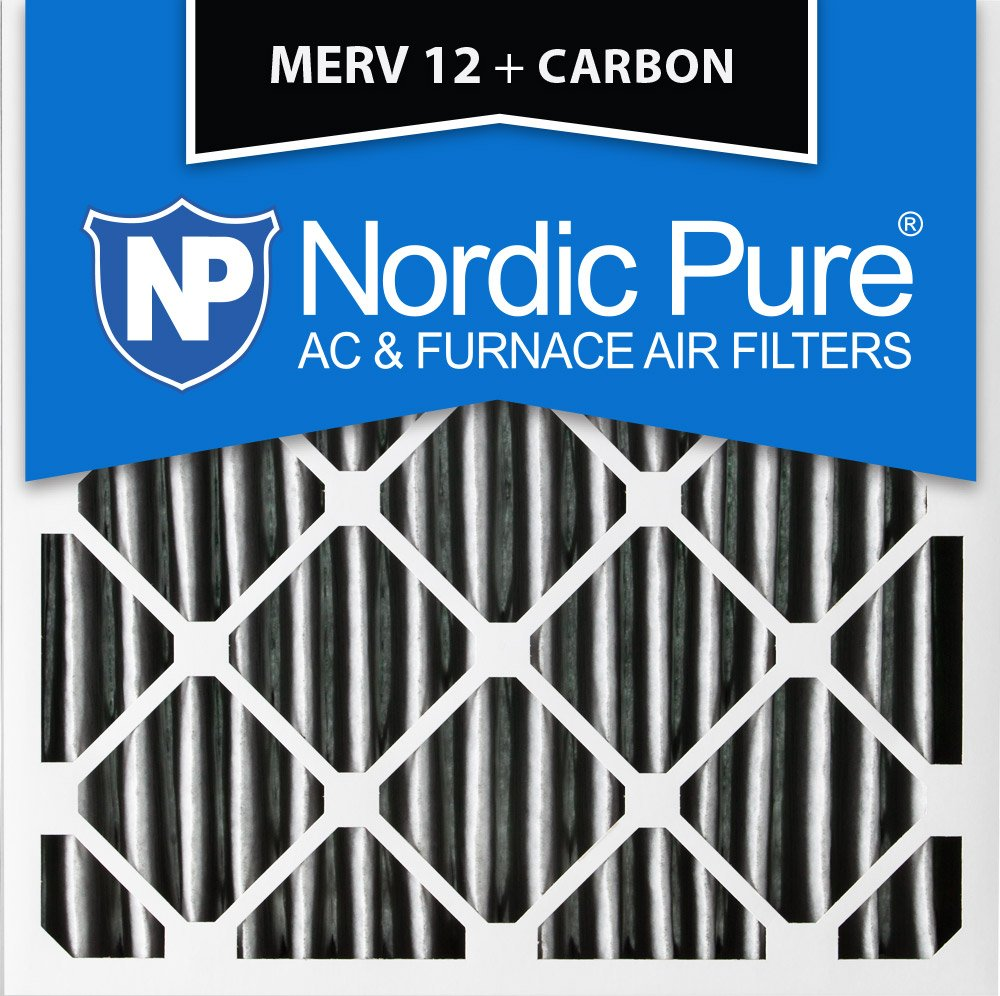 Nordic Pure 16x16x1PM12C-6 Pleated MERV 12 Plus Carbon AC Furnace Filters (6 Pack), 16 x 16 x 1''
