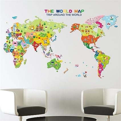 Amazon kelai craft art decor removable colorful kids kelai craft art decor removable colorful kids educational world map wall decal lovely learning world gumiabroncs Choice Image