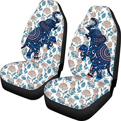 Babrukda Bohemian Elephant Floral Print Car Seat Covers 2pc Front Seat Only Universal Auto Driver Seat Protector Machine Washable: Automotive