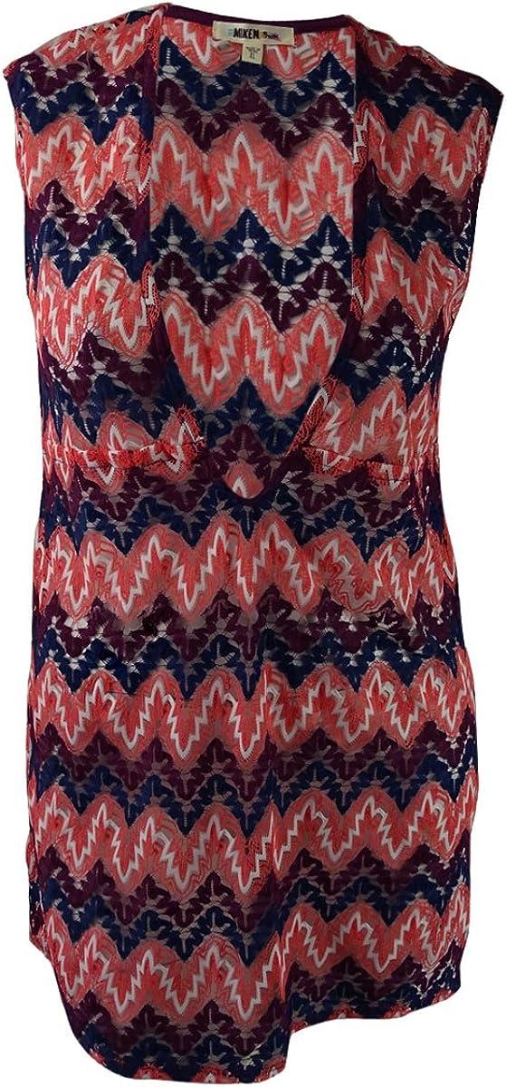 Miken Womens Chevron Crocheted Dress Swim Cover-Up