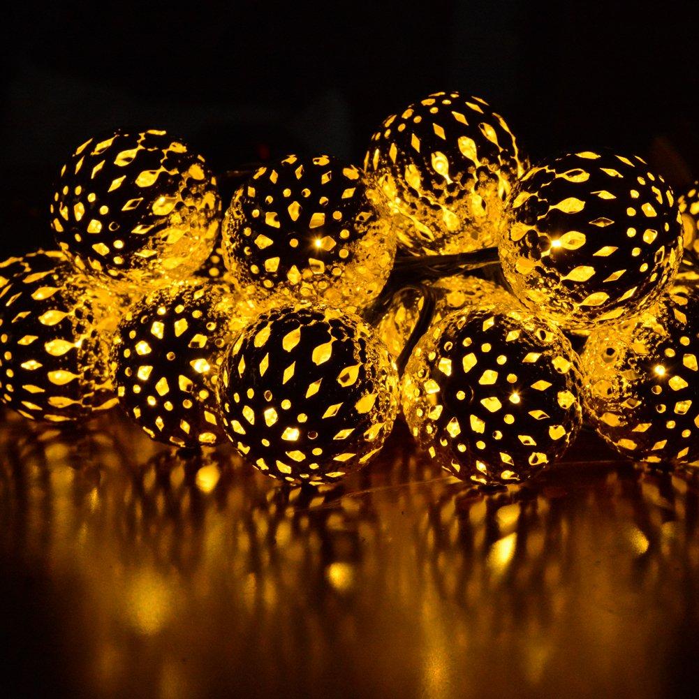 dephen LED Solar String Lights, Warm White, 20 Globe Moroccan Balls, 15ft LED Fairy String Lights, Solar Powered Lantern, Christmas Strand Lighting for Outdoor,Garden,Yard,Patio,Party,Home Decoration