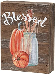 Fall Wood Grain Block Sign (Blessed)