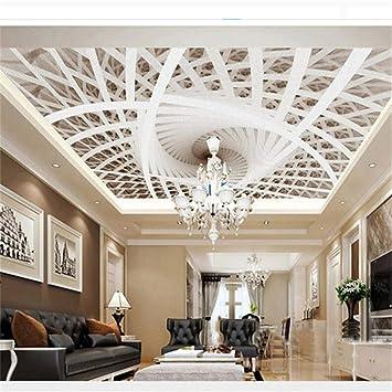 Foreverfl Papier Peint Plafond Art 3d Plafond Geometrique Papier