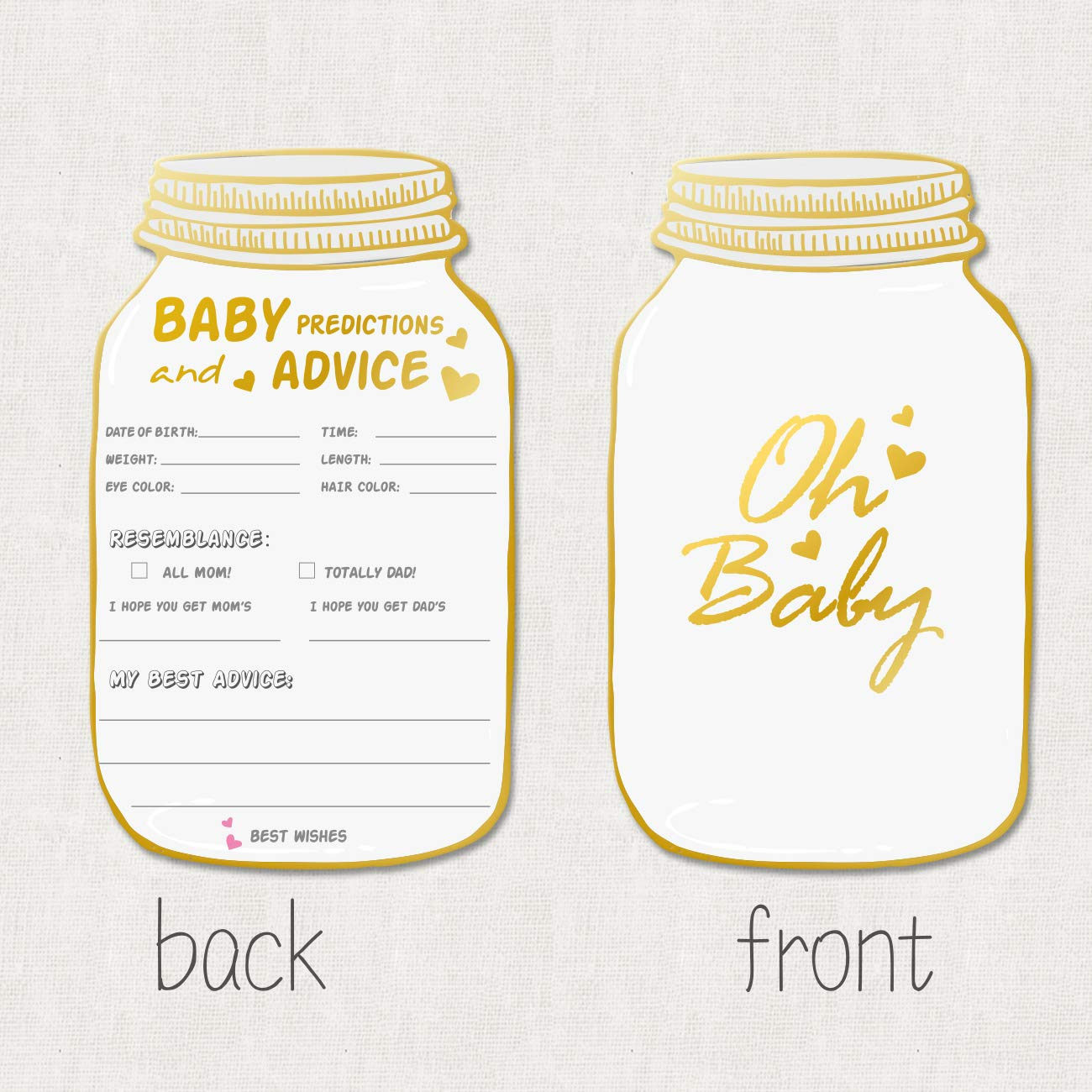 50 Mason Jar Advice and Prediction Cards for Baby Shower Game, Baby Shower Prediction and Advice Cards,Gender Neutral Boy or Girl,Fun Baby Shower Games Favors,New Parent Message Advice Book - 4x7inch by yuzi-n (Image #2)