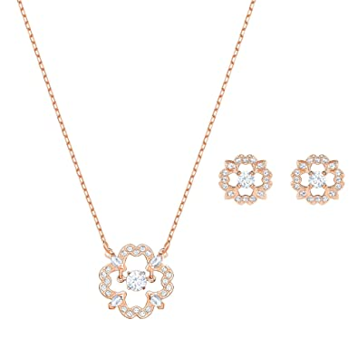 e0dc89637 Amazon.com: Swarovski Crystal Sparkling Dance Flower Rose Gold-Plated  Necklace and Earring Set: Jewelry