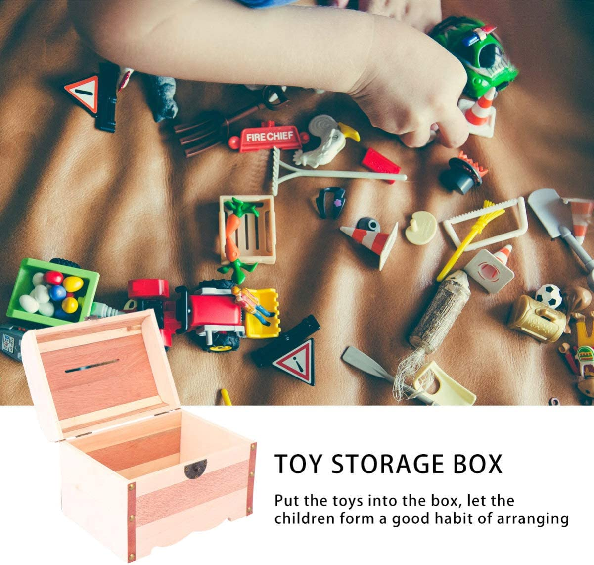 Tomaibaby Vintage Box Wooden Pirate Treasure Chest Kids Pirate Treasure Chest Toy Box Vintage Decoration Handmade Box for Kids Pirate Party
