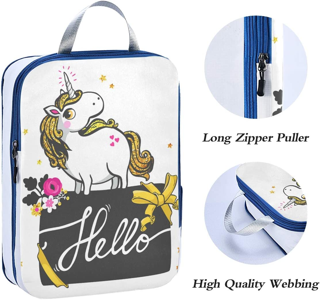 LUPINZ Gold Unicorn Travel Luggage Packing Organizers 3 Pieces Travel Cubes