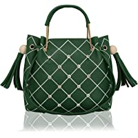 Bagclan Checks Embroided Medium Sized Fancy Handbag/Tote For Girls/Women