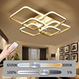 LED Dimmable Ceiling Light Living Room Lamp Modern Fashion Ceiling Lamp Minimalist Metal Acrylic 6-Square Design Ceiling Lamp Interior Decor Lamp Lighting Bedroom Hall With Remote Control 80W