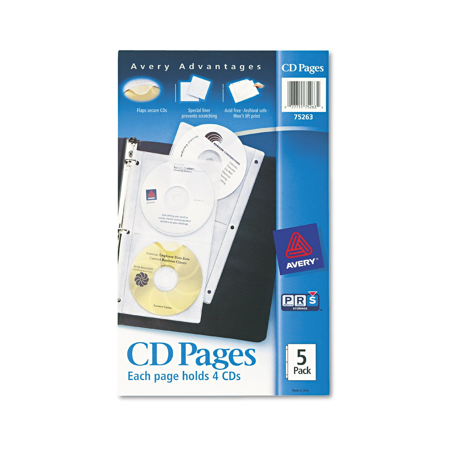 Pack of 5 Avery 75263 Two-Sided CD Organizer Sheets for Three-Ring Binder
