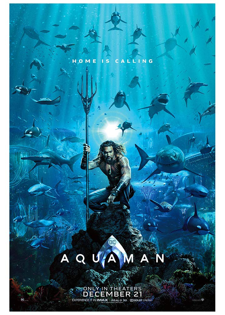 Aquaman (2018) Advance Movie Poster - Size 24'' X 36'' - This is a Certified Poster Office Print with Holographic Sequential Numbering for Authenticity.