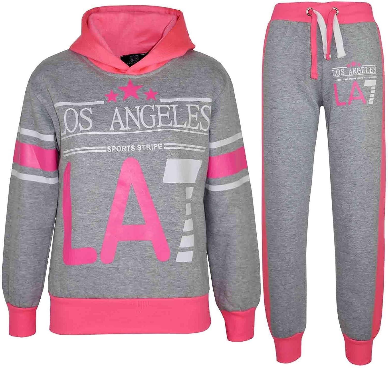 Kids Girls LOS ANGELES Tracksuit LA7  Print Hoodie /& Bottom Jog Suit 5-13 Years