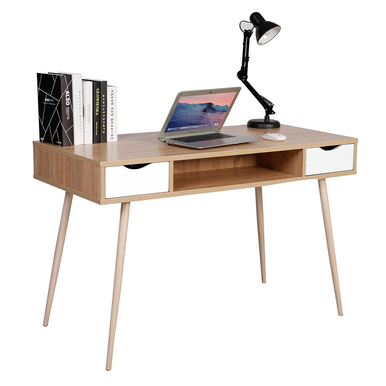 WOLTU® Schreibtisch TSG19hei Computertisch Bürotisch Arbeitstisch PC Laptop Tisch, in Melamin, mit 2 Schubladen und 1 offenen Fach, Gestell aus Stahl, 120x58x77cm(BxTxH), Holz, Eiche