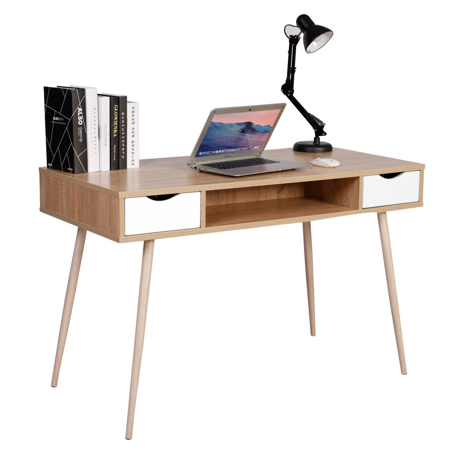 WOLTU® TSG19hei Bureau d'ordinateur Table de Bureau en métal et Bois,Table de Travail PC Table avec 2 tiroirs et 1 Compartiment Ouvert 120x58x77cm (LxPxH),Chêne product image