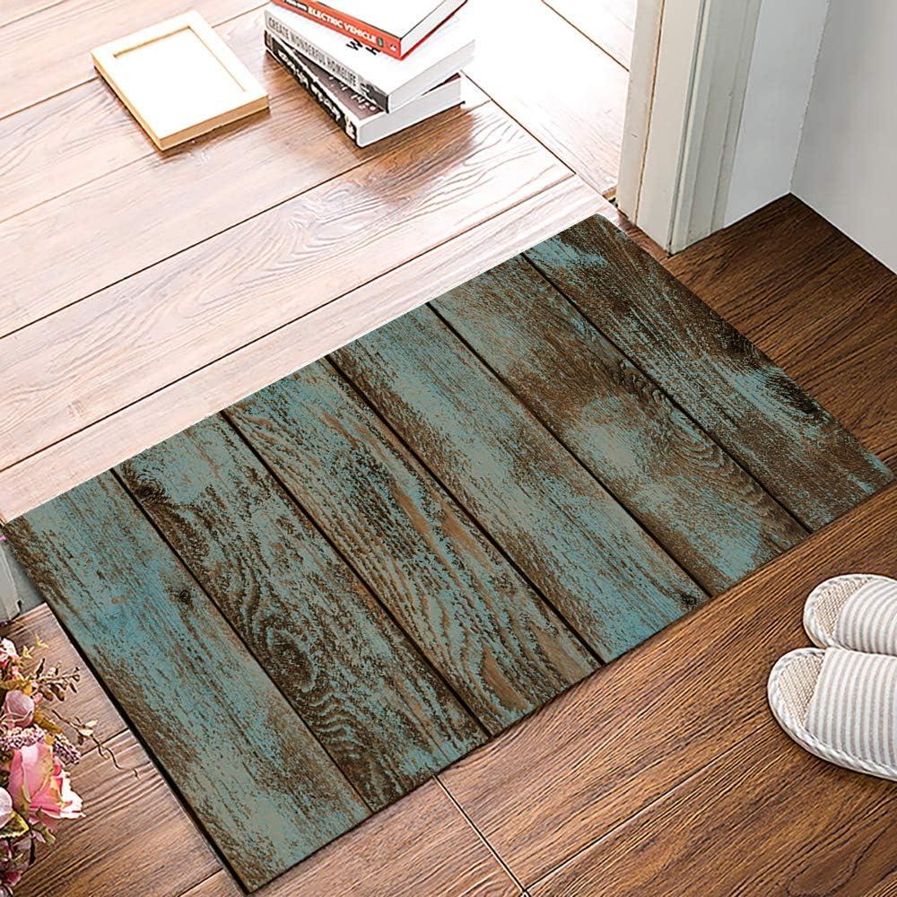 Indoor Doormat Absorbent Welcome Mats 18 X 30 Inch Rustic Old Barn Wood Felt Floor Door Mat With Non Skid Backing Fit For Entry Way Kitchen Bedroom Garden Outdoor