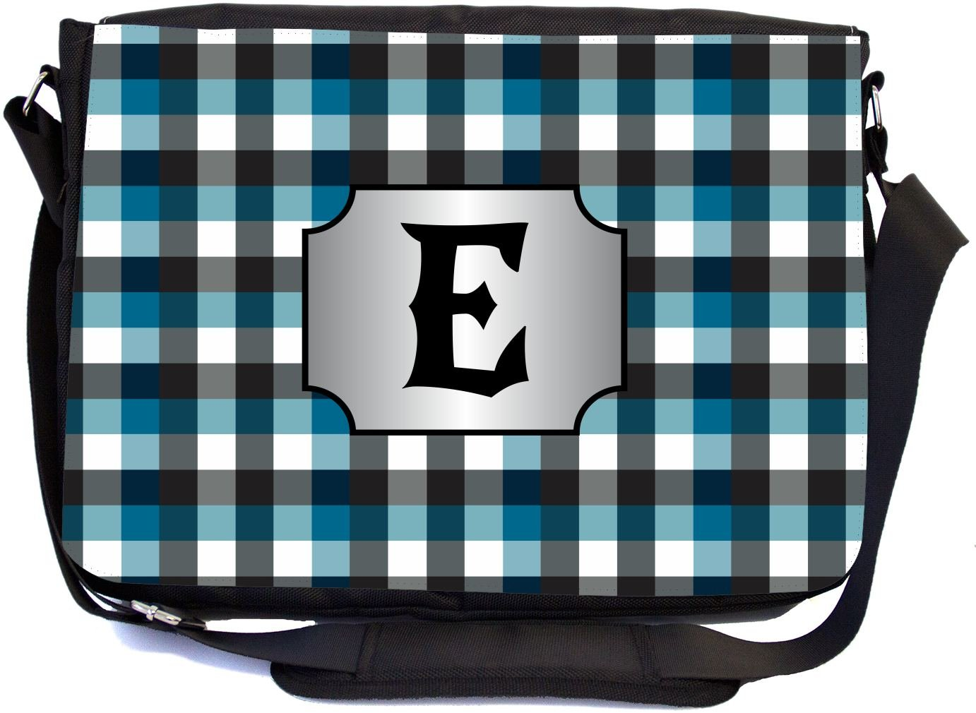Rikki Knight LetterE Initial Blue Black Grey Plaid Monogrammed Design Messenger School Bag mbcp-cond45983