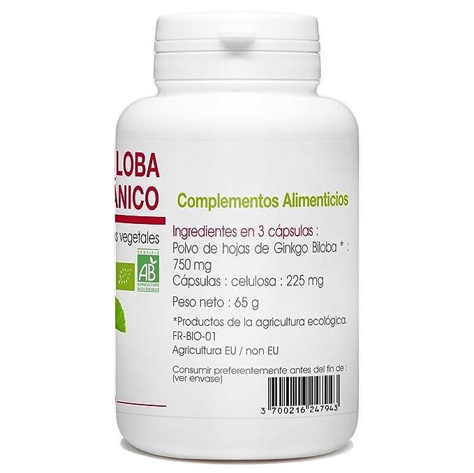 Ginkgo Biloba Orgánico - 250mg - 200 cápsulas vegetales: Amazon.es: Salud y cuidado personal