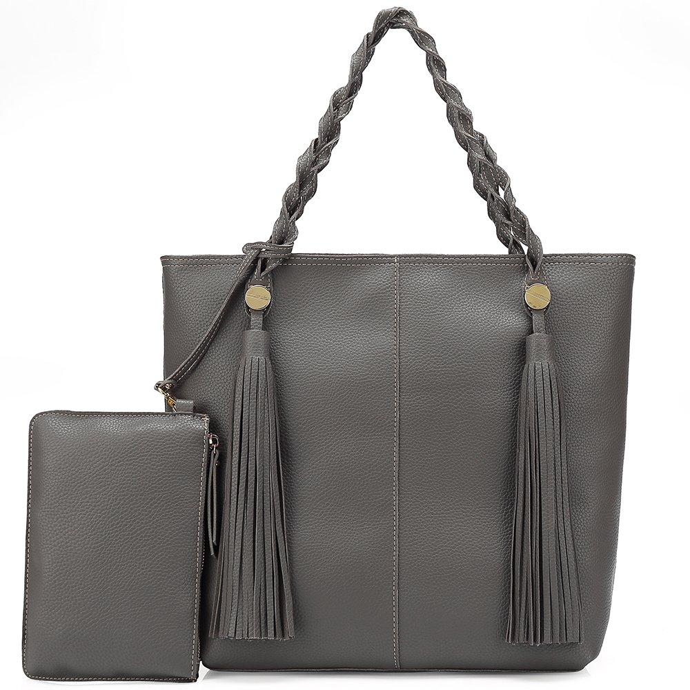 Women Tote Shoulder Bag Purse Ladies Handbag Large Hobo Tassel Soft Lightweight Vegan Leather (Grey)