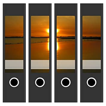 Motiv Sonnenuntergang am Wasser//Deko 4 Akten-Ordner Aufkleber Rücken Sticker