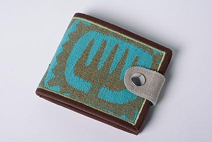 Madeheart Cartera hecha a mano de tela de lino y denim de mujer original