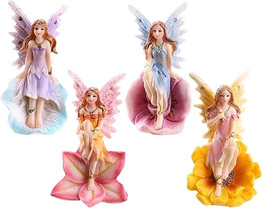 Juego de 4 diseño de flores de hadas jardín o Home diseño de Enchanted figuras de hada: Amazon.es: Jardín