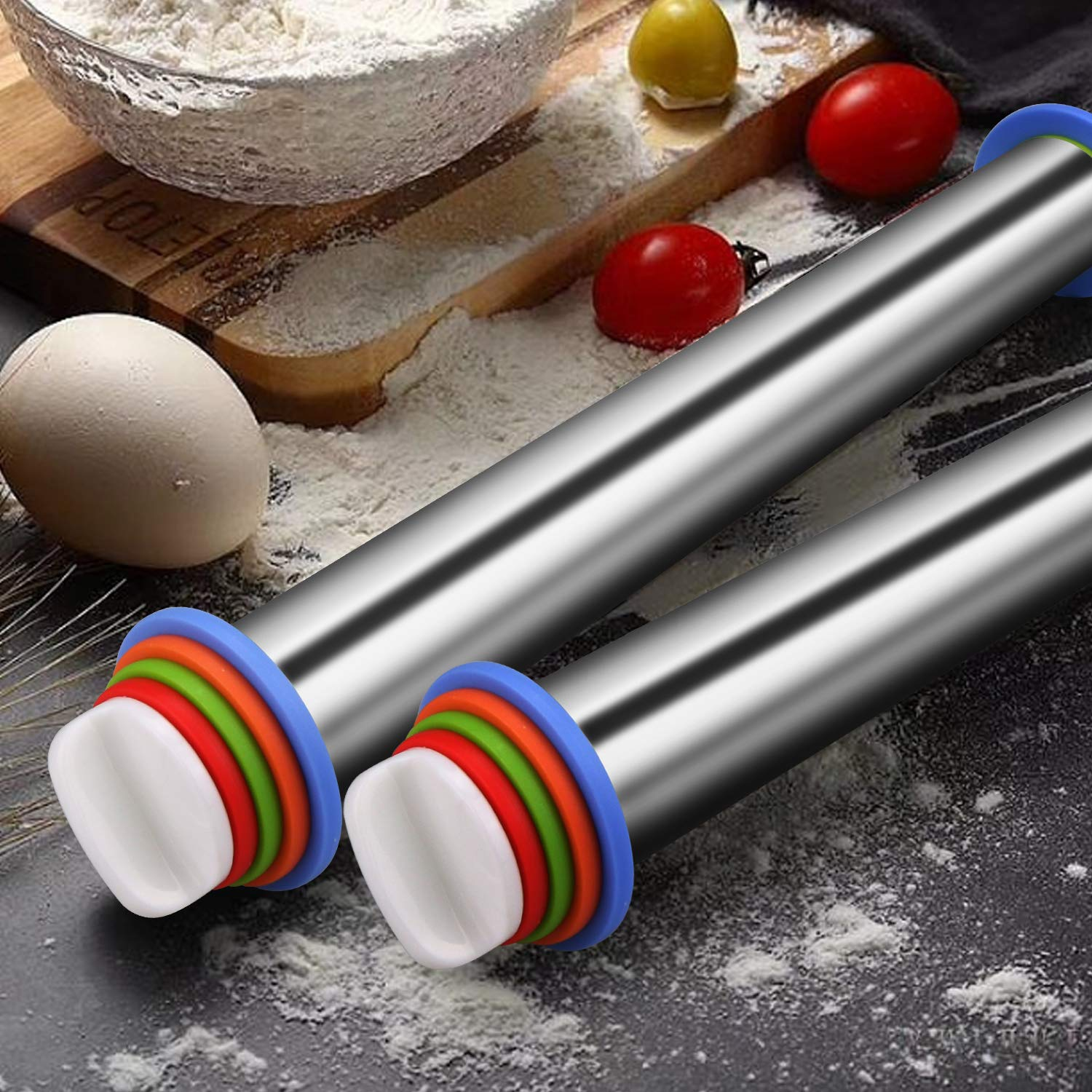 Winkeyes Stainless Steel Rolling Pins, with 4 Adjustable Discs Ring, Non-Stick Rolling Pin for Fondant, Baking Dough Pizza Pie Cookies and Pastry Cookies by Winkeyes (Image #6)