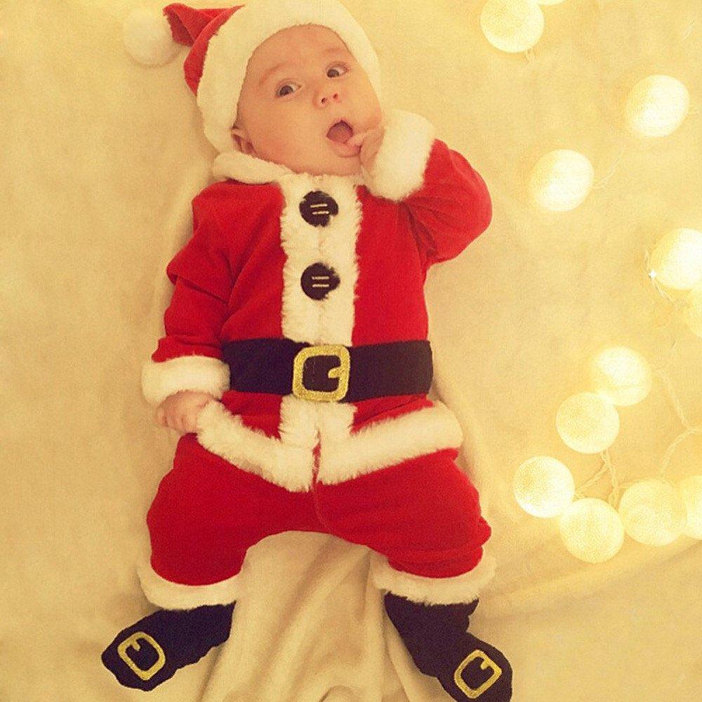 Ropa de Navidad para bebés Infantil Bebé Niñas Niños Santa Christmas Tops + Pantalones + Sombrero + Calcetines Disfraz de Traje Conjunto 0-24 Mes ...