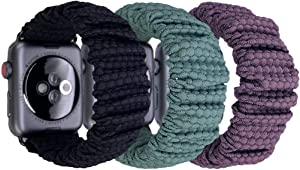 Unibuy Scrunchie Slim Hexagon Athletic Compatible with Apple Watch Bands 40mm Women Spandex Elastic Wristband 38mm Scrunchy Bands Compatible for iWatch Series SE 6 5 4 3