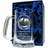 Mens 50th Birthday Gift, Engraved 50th Birthday Pint Glass Tankard with Solid Pewter 'Son' Feature, In a Satin Lined Presentation Box, Men's Birthday Gifts