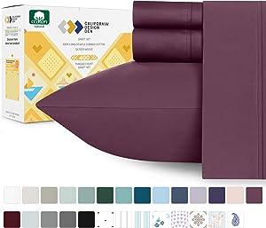 Mauve Plum Color Sheet Set Cotton - 400 Thread Count Twin XL Size Sheets, Premium Sateen Weave 3 Piece Bedding Set, Elasticized Deep Pocket Fits Low Profile Foam and Tall Mattresses