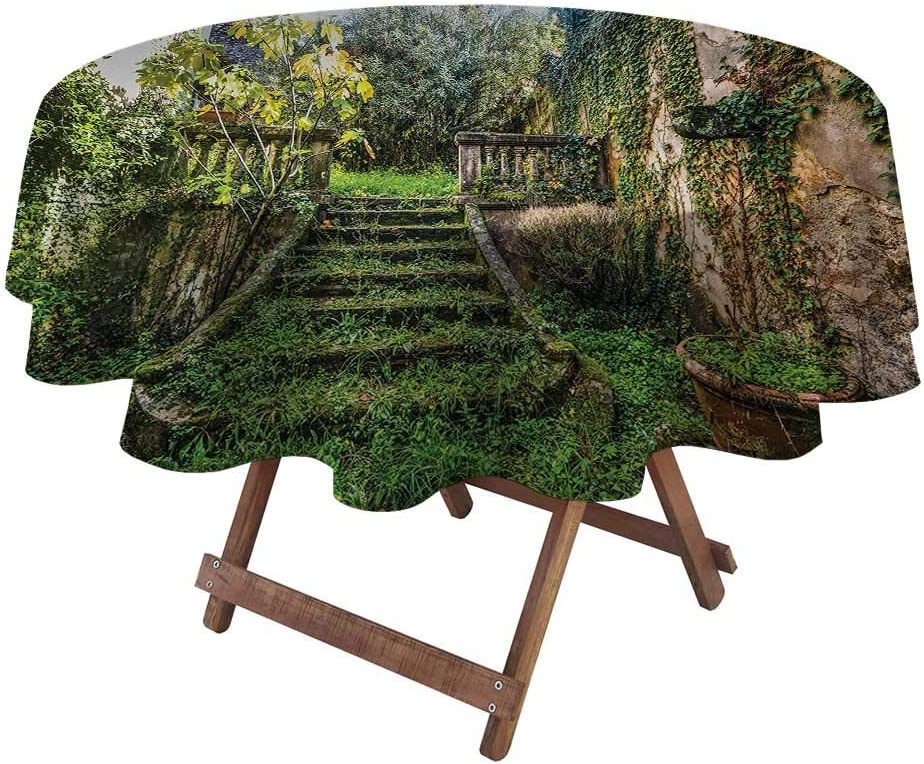 "Round Tablecloths for Parties Nature Fourth of July Tablecloth Ancient Fairytale Theme Hidden Garden with Botanic Trees Flowers Ivy Image Print 36"" Diameter Multicolor"