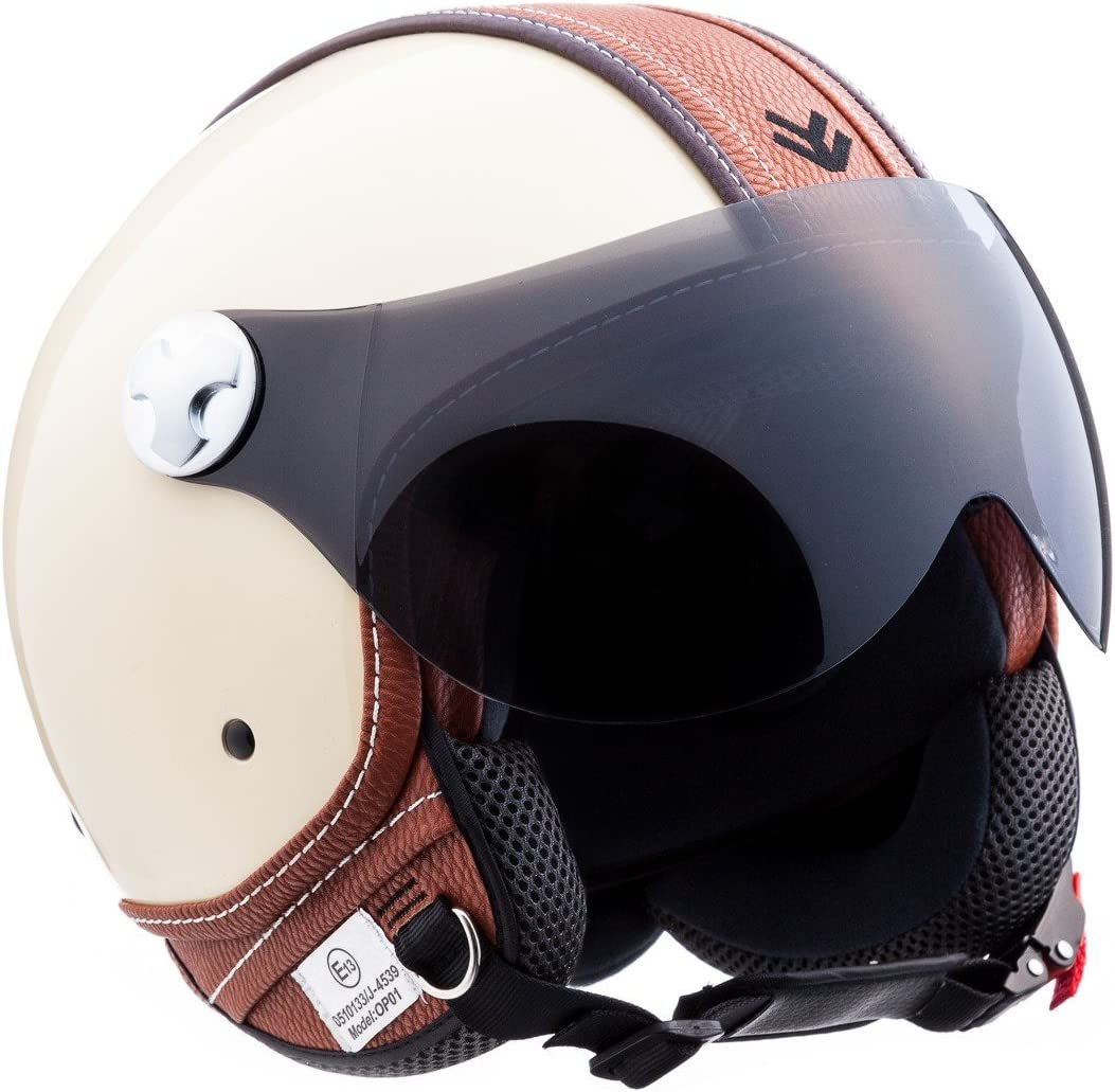 53-54cm Marrone//Ranger XS ECE Certificato ARMOR Helmets AV-84 Casco Demi Jet