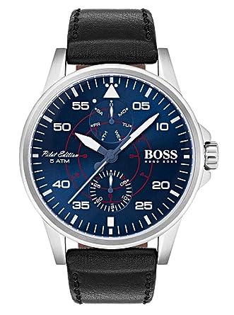 25495c4188e9 Hugo BOSS Reloj Multiesfera para Hombre de Cuarzo con Correa en Cuero  1513515  Amazon.es  Relojes
