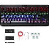 Mechanical Keyboard, GooBang Doo Bopower KB1 Backlit 87 Keys Mechanical Gaming Splashproof Keyboard with Blue Switches DIY Replaceable Switches - Black