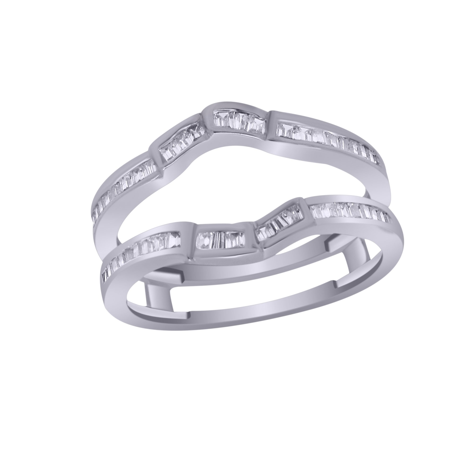 OMEGA JEWELLERY 0.40 Ct Baguette Shape Real Diamond 14K White Gold Anniversary Wedding Enhancer Wrap Guard Ring (7.5) by OMEGA JEWELLERY