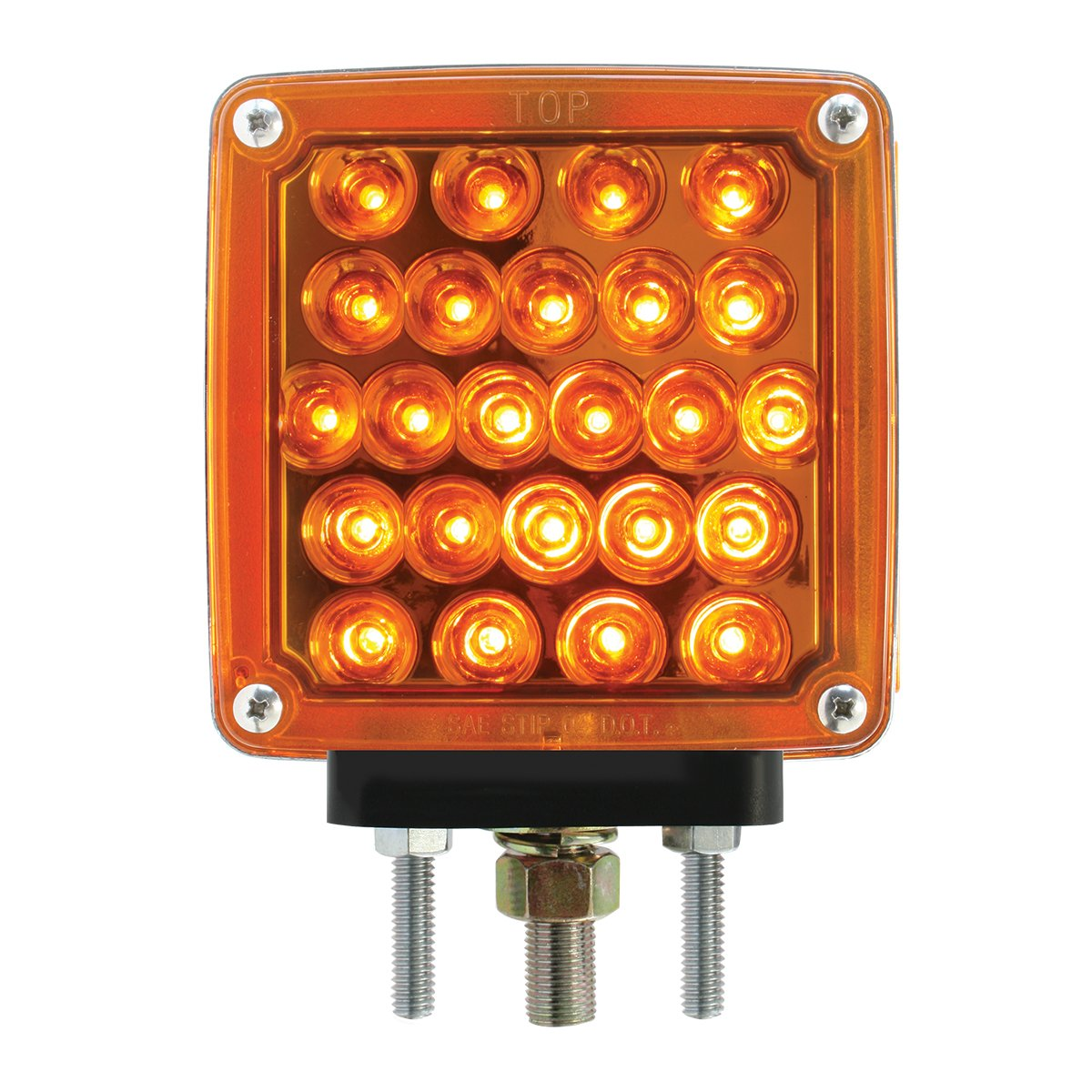 Grand General 77620 Amber/Amber 4.5'' Pearl Square Double Face LED Pedestal Light (for Truck/SUV/RV/Vehicle/Trailer)
